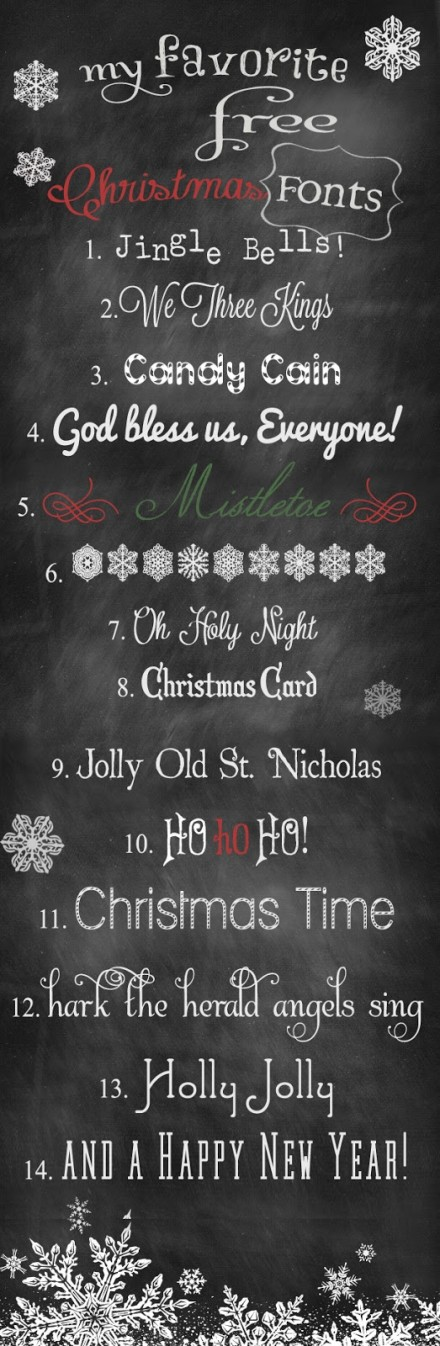 hannah from happily ever after shares links to 14 of her favorite christmas themed fonts best of all they are free for personal use