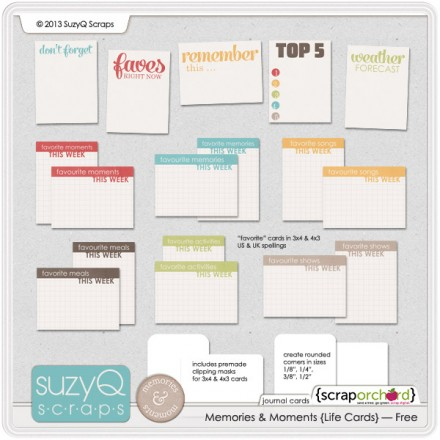 Free project Life Cards from Suzy Q Scraps