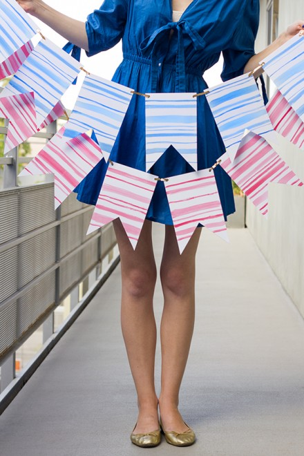 DIY-Watercolor-Stripe-Bunting by The Sweetest Occasion