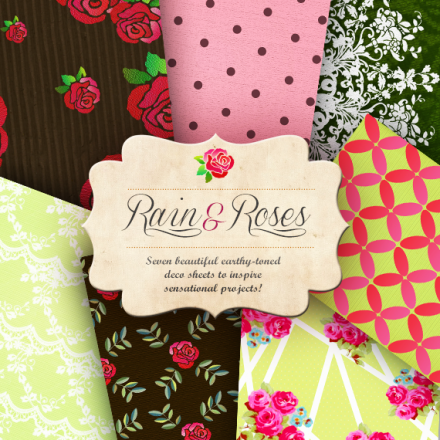 Freebie - rains n roses printable papers from craft a doodle doo