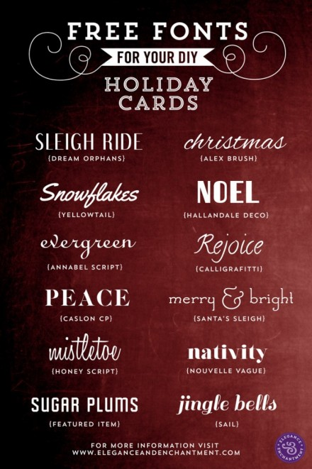 Freebies - Fonts for Holiday Cards