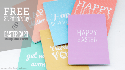 Freebie - Printable St. Patrick's Day and Easter Cards from Oh Everything Handmade