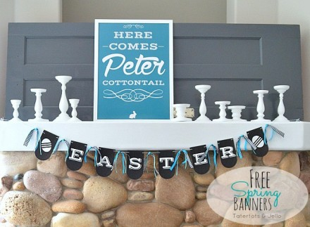 Freebie - Printable Spring Banners in 6 Colors from Tatertots and Jello