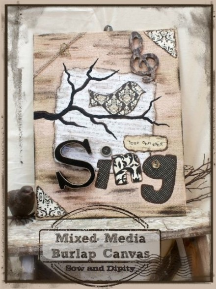 Show and Tell - Burlap Canvas by Sow and Dipity