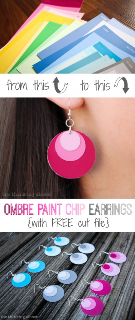 Freebie - Ombre Paint Chips Earrings and Silhouette Cut File