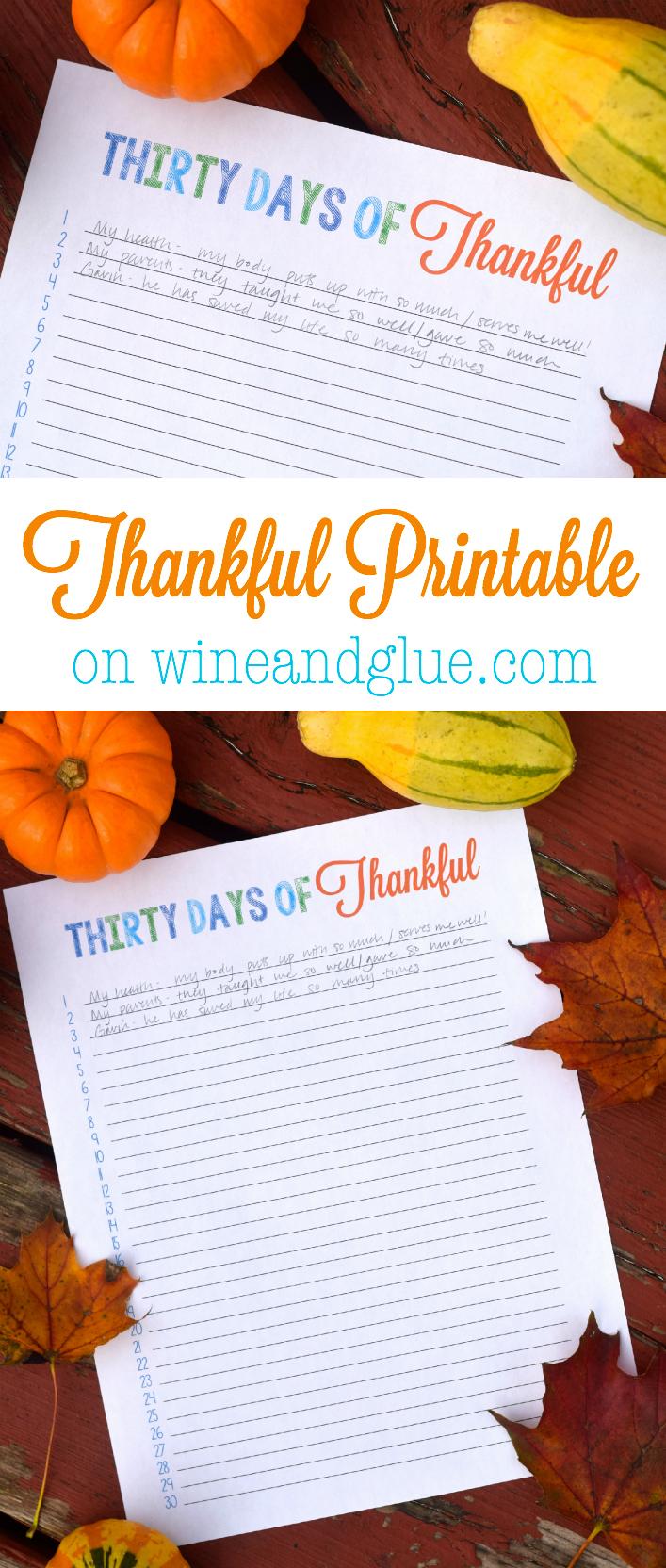 30 Days of Thankful free Printable