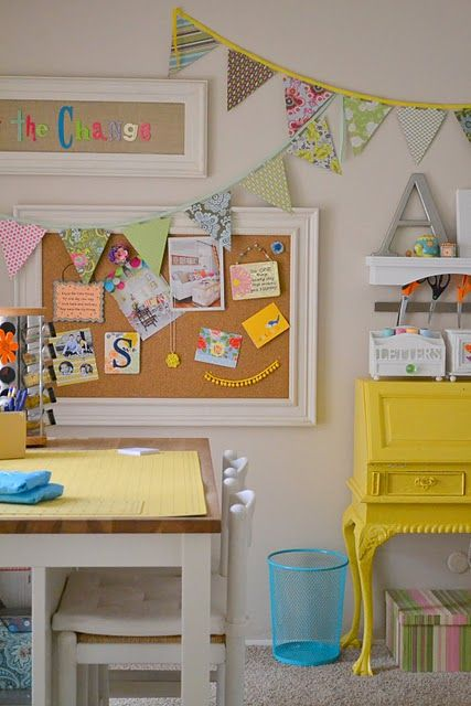 Painted desk and buntings from Little Miss Momma