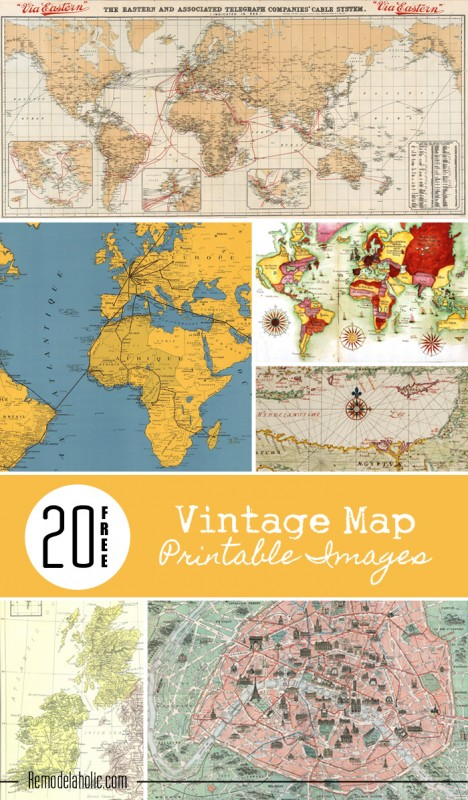 picture regarding Free Vintage Printable named 20 Cost-free Typical Map Printable Photographs S Reserving