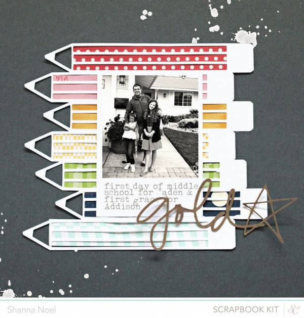Single Photo BAck to School Scrapbook Layout 10