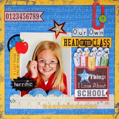 Single Photo BAck to School Scrapbook Layout 2