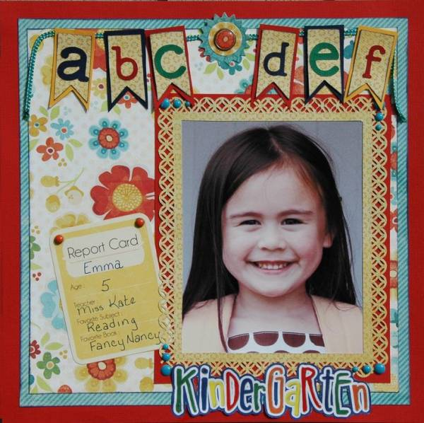 Single Photo BAck to School Scrapbook Layout 4