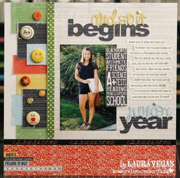 Single Photo BAck to School Scrapbook Layout 9