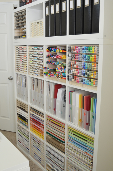 paper craft storage in ikea kallax shelving scrap booking. Black Bedroom Furniture Sets. Home Design Ideas