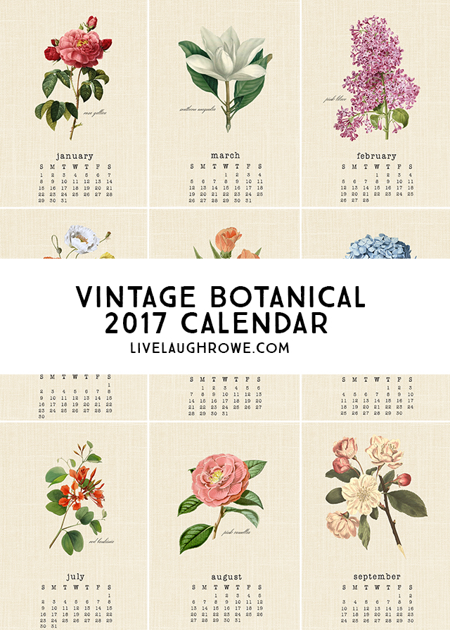 Free Vintage Botanical 2017 Calendar – Scrap Booking