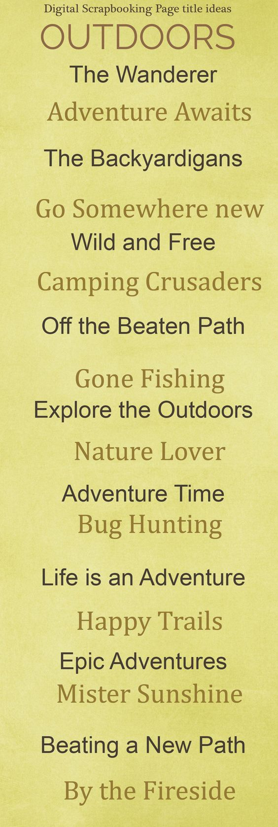 Scrapbooking Titles for Outdoor Layouts