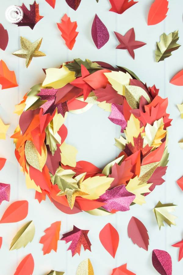 DIY Autumn Paper Leaf Wreath Printable Template