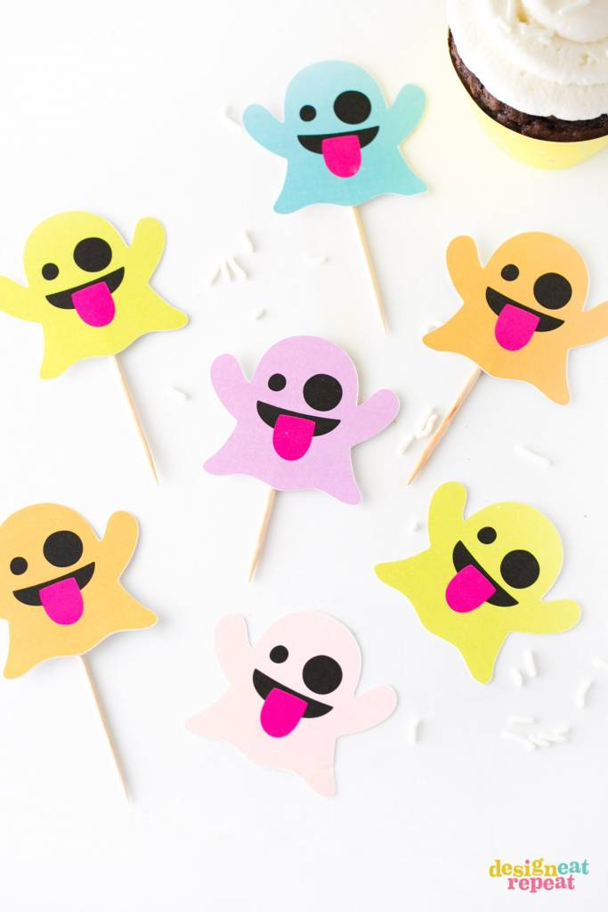 Colorful Printable Emoji Ghosts for Halloween Paper Crafts
