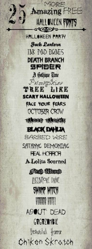 25 Fonts You Can Use for Halloween Crafts and Scrapbook Pages