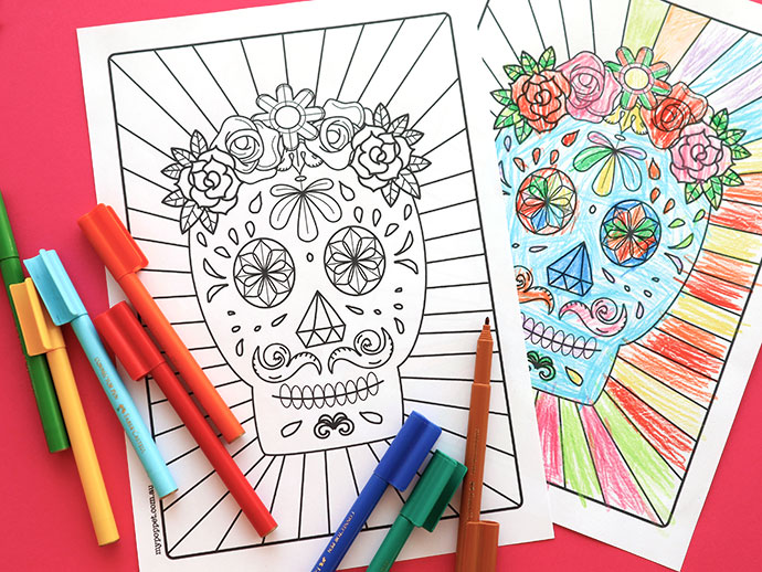 Halloween Printable: Day Of The Dead Sugar Skull Colouring Page – Scrap  Booking