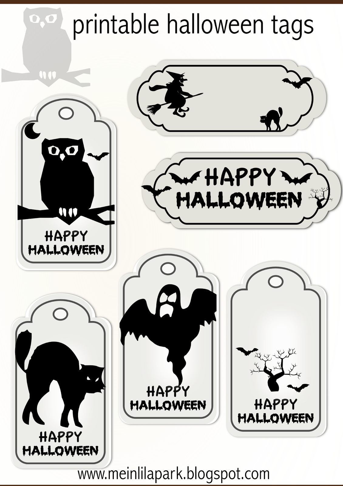 Fun Printable Halloween Tags for Scrapbooking & Paper Crafts