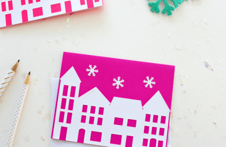 Easy Christmas Village Cards With Silhouette