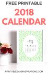 Free Printable Green 2018 Calendar