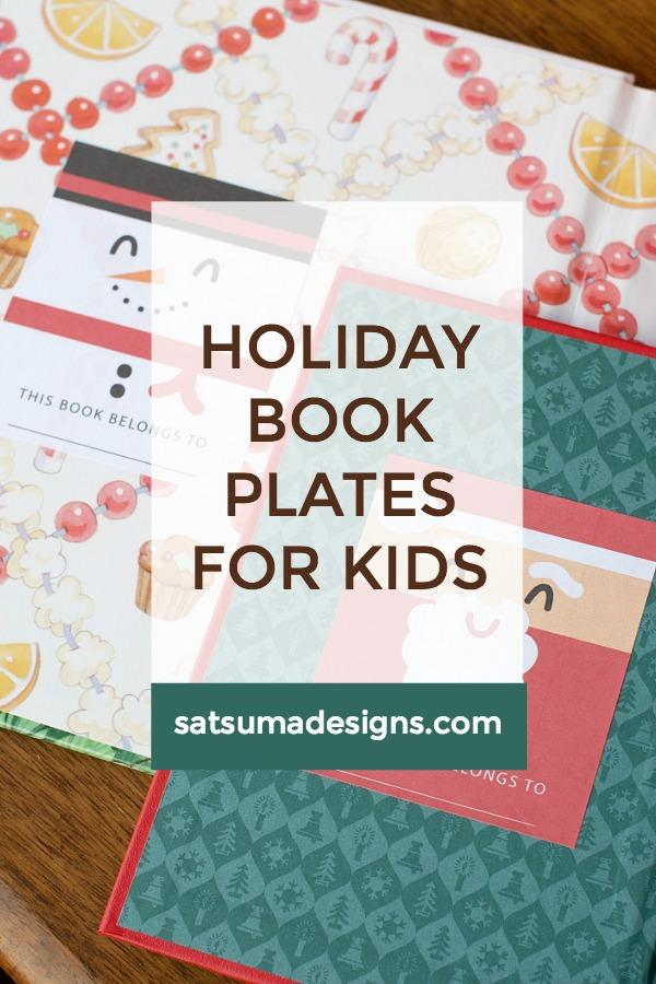 Printable Holiday Book Plates for Kids