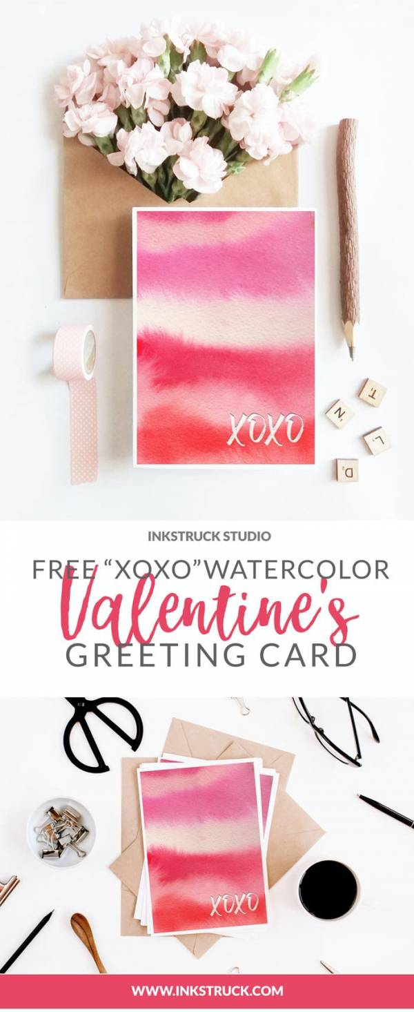 Watercolor XOXO Valentine's Day Card