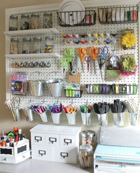 Craft room ideas for small to big spaces scrap booking for Small craft table with storage