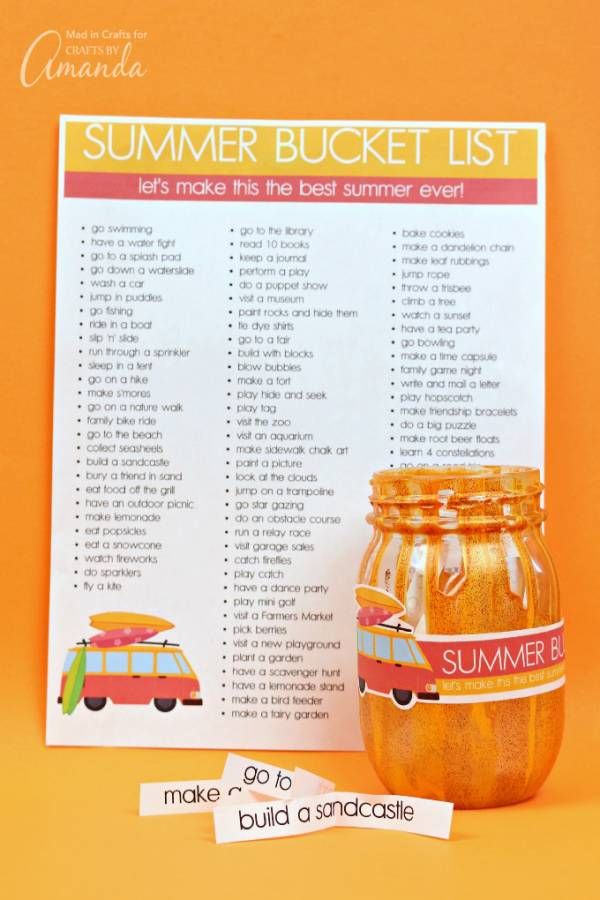 Summer Bucket List Jar: 80 fun bucket list ideas for kids!
