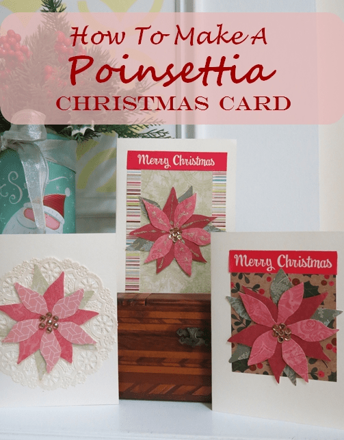 Easy Poinsettia Christmas Card with Template