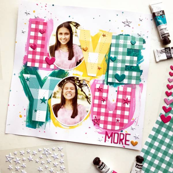 Colorful Letters with Paper and Paint Layout
