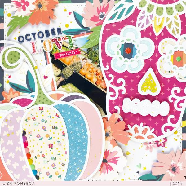 October Layout with Loads of Pattern Papers