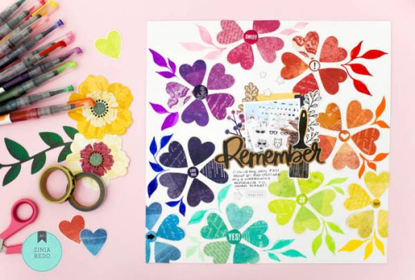 Rainbow Flowers Layout
