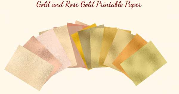 Gold and Rose Gold Foil Printable Papers