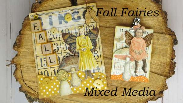 Fall Fairies Mixed Media Art