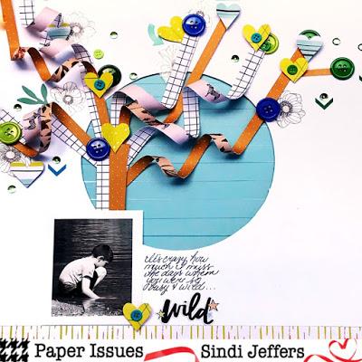 Paper Strip Tree Scrapbook Layout
