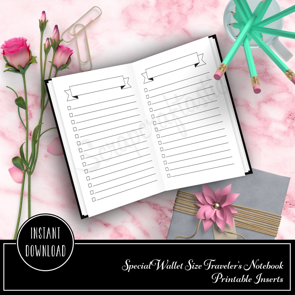 Banner Header Check List Wallet Size Travelers Notebook Printable Insert
