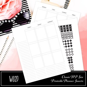 WO2P Classic HP Size Printable Planner Insert