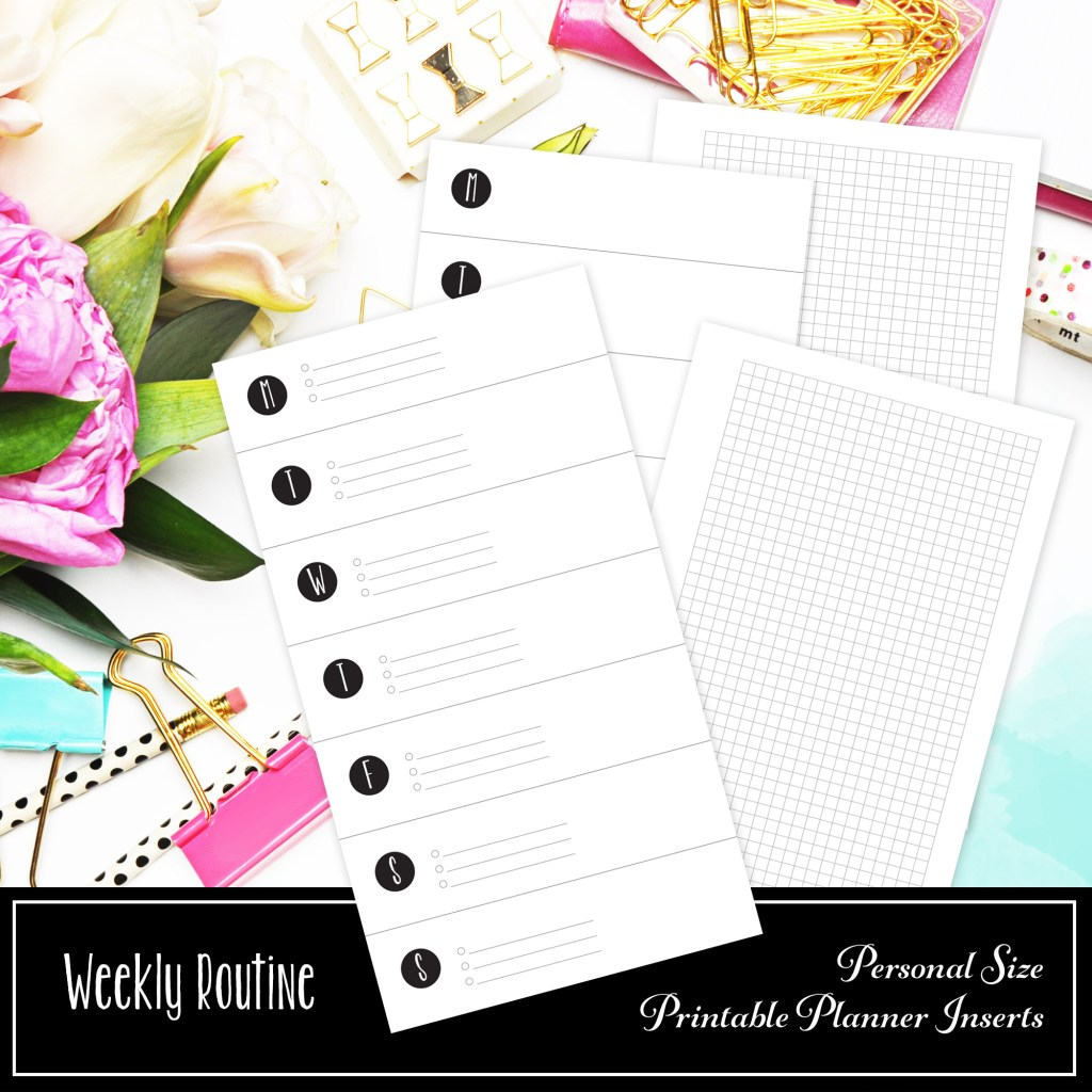 Weekly Routine With Small Grid Personal Printable Insert