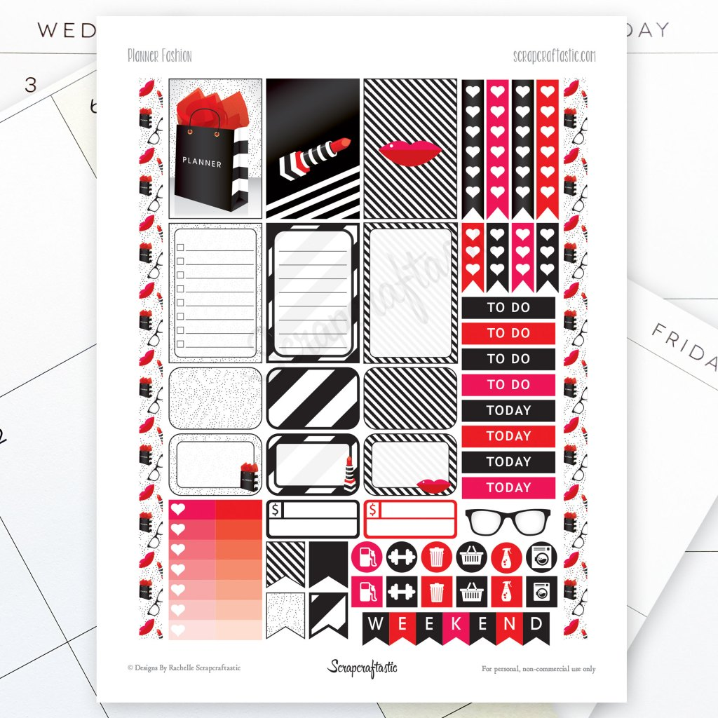 Planner Fashion Printable Planner Stickers for MAMBI Happy Planner