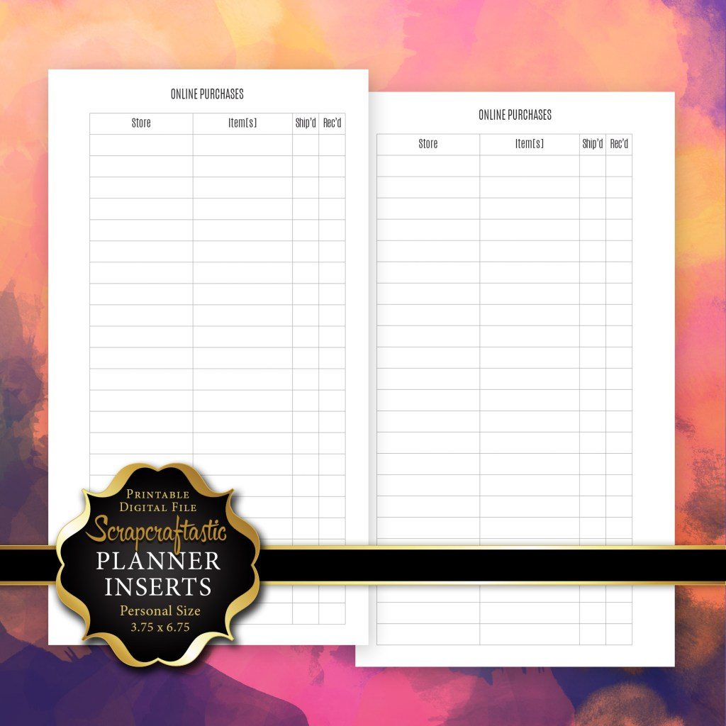 Online Purchase Tracker Planner Insert Refill | Personal Size Planner