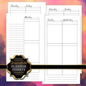 Planner Printable Insert Refill Undated WO4P Personal Size- Filofax Kikki K Kate Spade ColorCrush Erin Condren Size Full Boxes & Half Boxes
