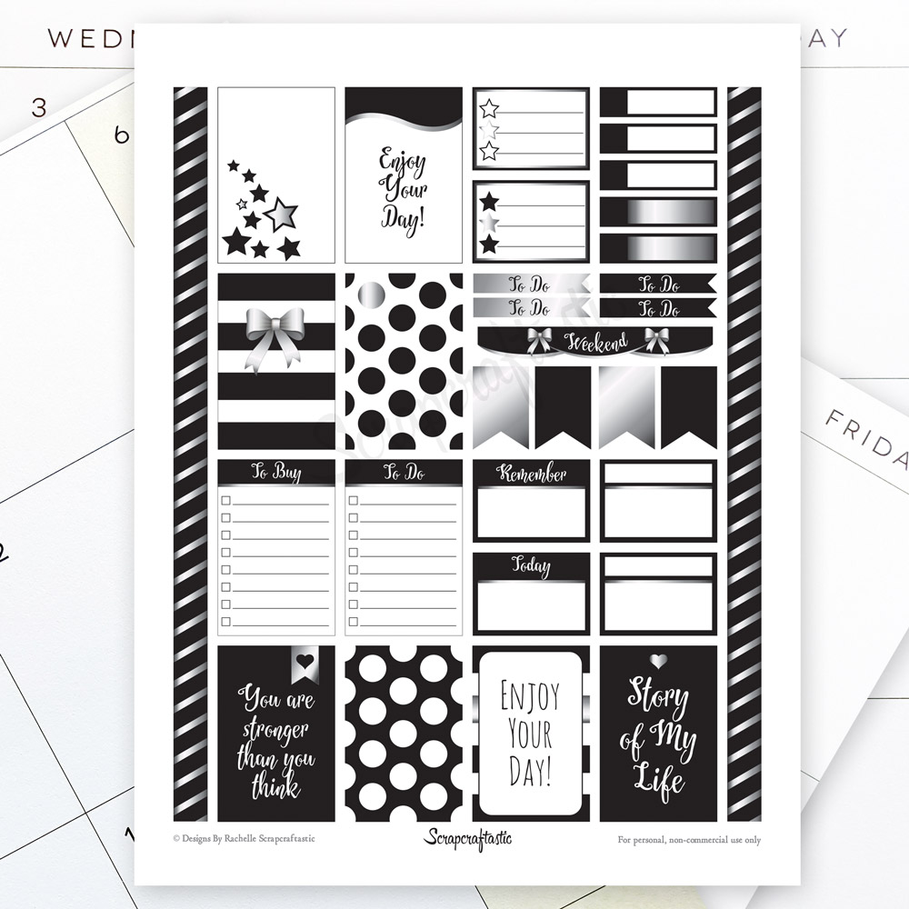 All Black Silver Pro Printable Planner Stickers for MAMBI Happy Planner