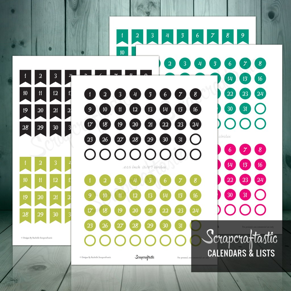 Planner Pro DIY Calendar, List and Monthly Challenge Numbered Printable Planner Stickers