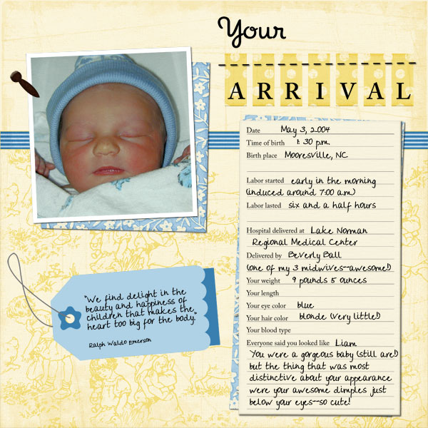 baby scrapbook page templates your arrival baby book page