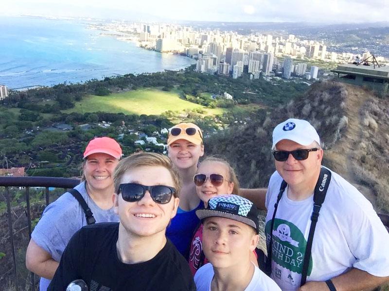 McGraw family on the top of Diamond Head in Hawaii. (2015)
