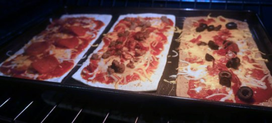 flatout thin crust baking in oven