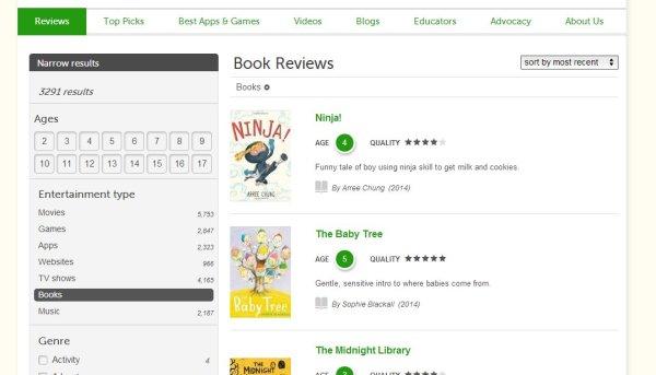 Common Sense Media book reviews