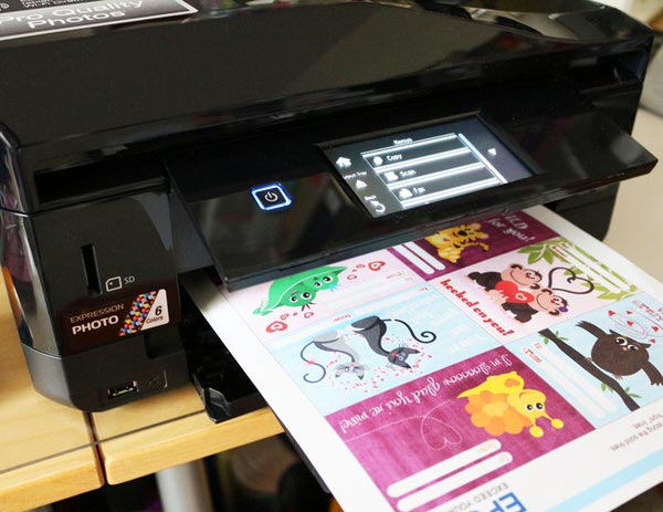Printing classroom Valentine's Day cards on Epson XP820 at home.